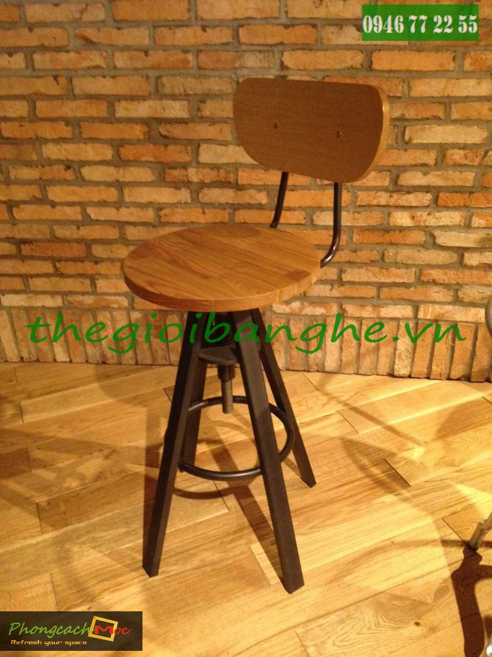 ghế gỗ chân sắt mn67